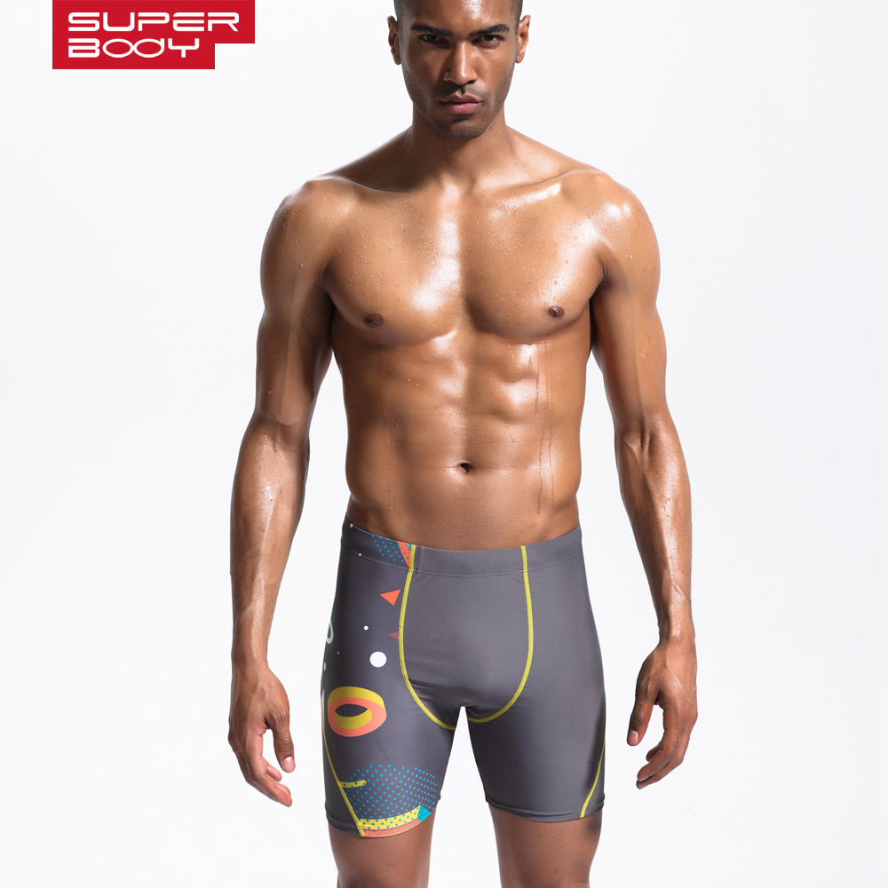 Superbody Men Short Swimming Trunks Cycling Pants Fitness Pants Slim Fit Athletic Pants Beach Shorts Bathing Suit