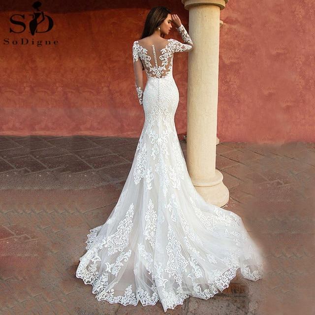 Custom Made Lace Mermaid Wedding Dresses Long Sleeve White Wedding Gown Sexy Vintage 2021 Bride Dress Robe de mariage 2
