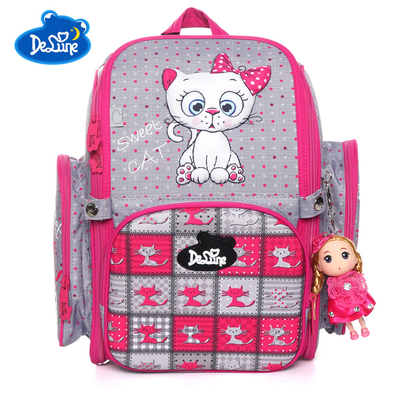 Delune Brand Students Children School Bags For Girls Boys High Quality Cat Pattern Kids Backpack Schoolbag