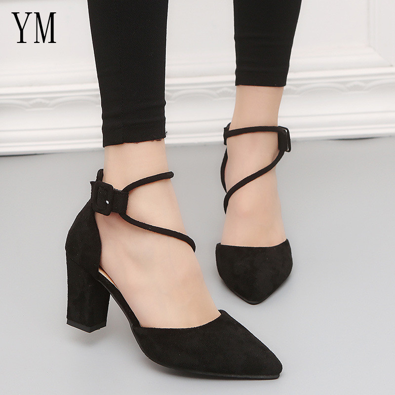 2019 Gladiator Sandals Women Shoes Sexy Pointed Toe Pumps Womens 7CM Ladies Shoe Zapatos Mujer High Heels Wedding Plus Size34-39