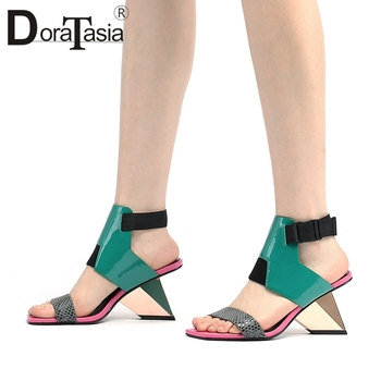 DORATASIA Classic Genuine Leather Female Summer Sandals Mixed Color Sandals Women Open Toe High Heels Shoes Woman