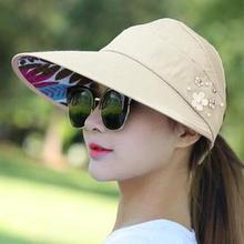 75% Hot Sales!!! Women Solid Color Wide Brim Beads Flower Decor Sun Hat Visors Outdoor Sports Cap