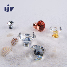 Glass Crystal Handles Furniture Knobs Cupboard Drawer Pull Kitchen Cabinet Wardrobe Handles Furniture Hardware 20-40mm Diamond(China)