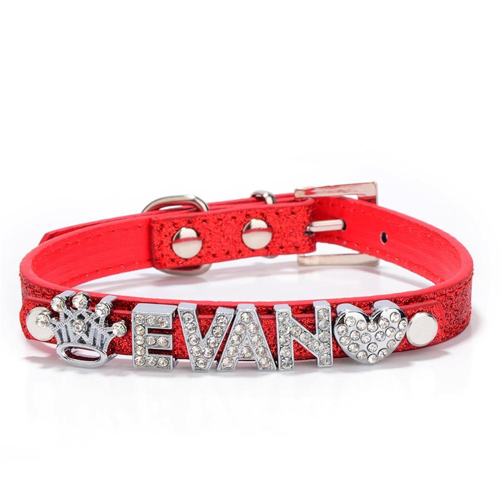 Персонализированные DIY именные ошейники для собак шикарный ошейник для собак с бриллиантовой пряжкой подвески для щенков, кошек, букв для Тедди, французского бульдога - Цвет: Red