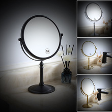 All-copper black desktop mirror hotel beauty mirror