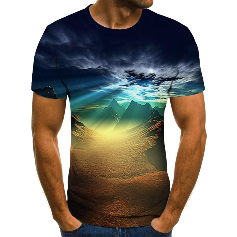 Natural Theme Men's T-shirt Summer Casual Tops 3D Printed T-shirt Men's O-neck Shirt Fishing Casual T-shirt Plus Size Streetwear