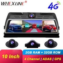 """WHEXUNE 10 """"لوحة القيادة مرآة الرؤية الخلفية 4G أندرويد داش كاميرا 2G RAM 32G ROM لتحديد المواقع نافي مسجل فيديو FHD 1080P ADAS واي فاي جهاز تسجيل فيديو رقمي للسيارات"""