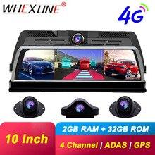 "WHEXUNE 10 ""กระจกมองหลัง4G Android Dashกล้อง2G RAM 32G ROM GPS Naviวิดีโอrecorder FHD 1080P ADAS WiFiรถDvr"