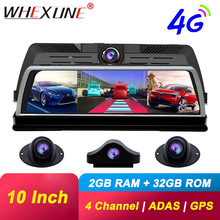 "WHEXUNE 10"" dashboard Rearview mirror 4G Android dash camera 2G RAM 32G ROM GPS Navi video recorder FHD 1080P ADAS WiFi car dvr"