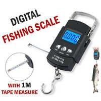 Mini báscula Digital portátil, 50KG /10g, gancho colgante LCD, balanza electrónica para pesca, equipaje, viaje, cocina romana, herramienta de peso