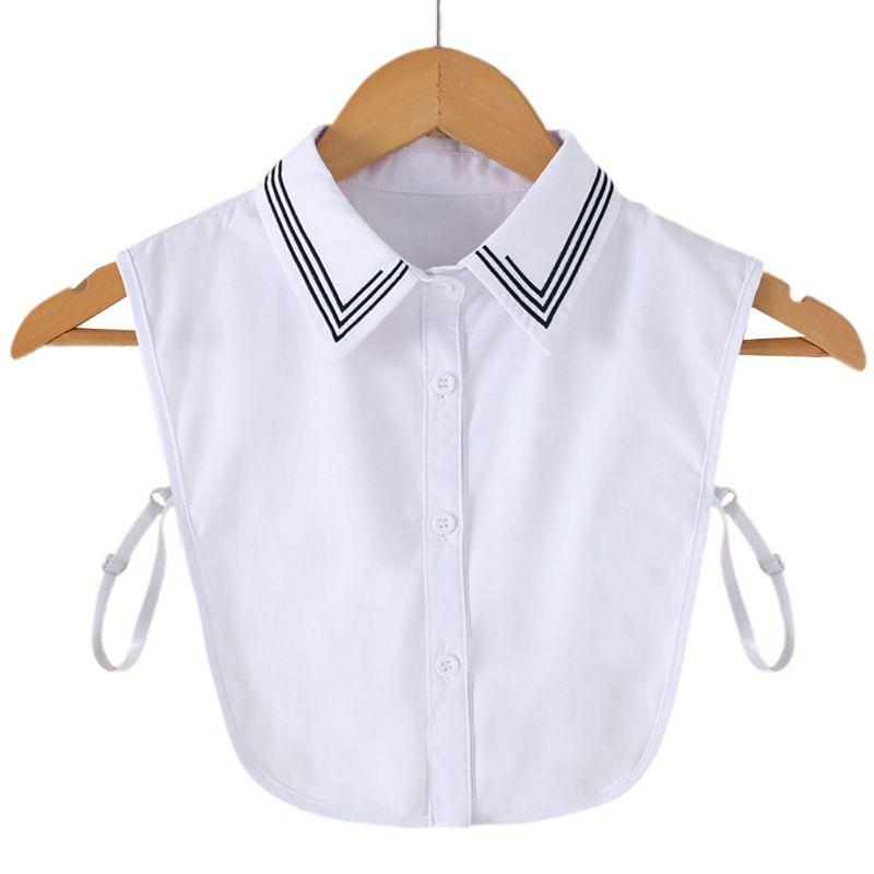 Ladies Women Black Stripes Embroidery Lapel Detachable Half-Shirt Blouse Button Down Adjustable False Fake Collars