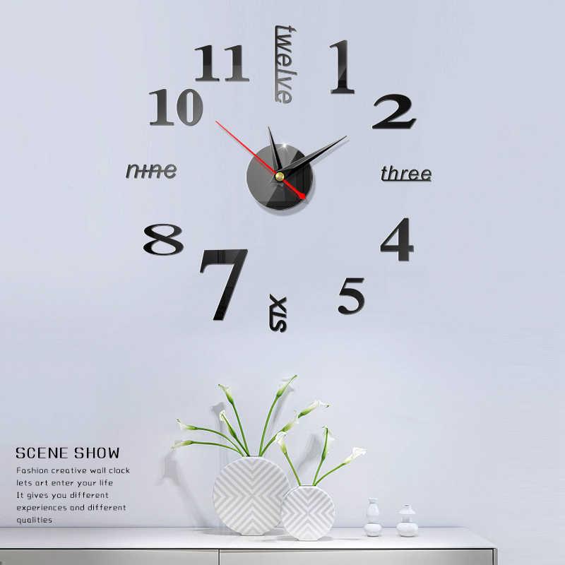 2020 freies Verschiffen Neue Uhr Uhr Wanduhren 3d Diy Acryl Spiegel Aufkleber Hause Dekoration Wohnzimmer Quarz Nadel