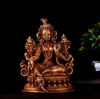 Tibet Tibetan Buddhism Handmade Old Budda Statue Copper Gilt Green Tara Buddha Statue