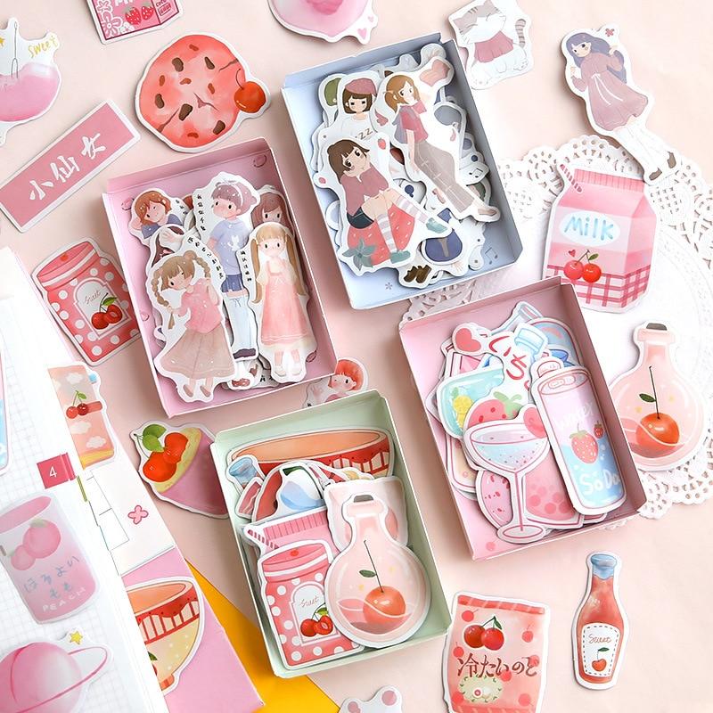40pcs/box Beverage Food Bullet Diary DIY Scrapbook Diary Photo Album Gourmet Decoration Boy Girl Creative Sticker
