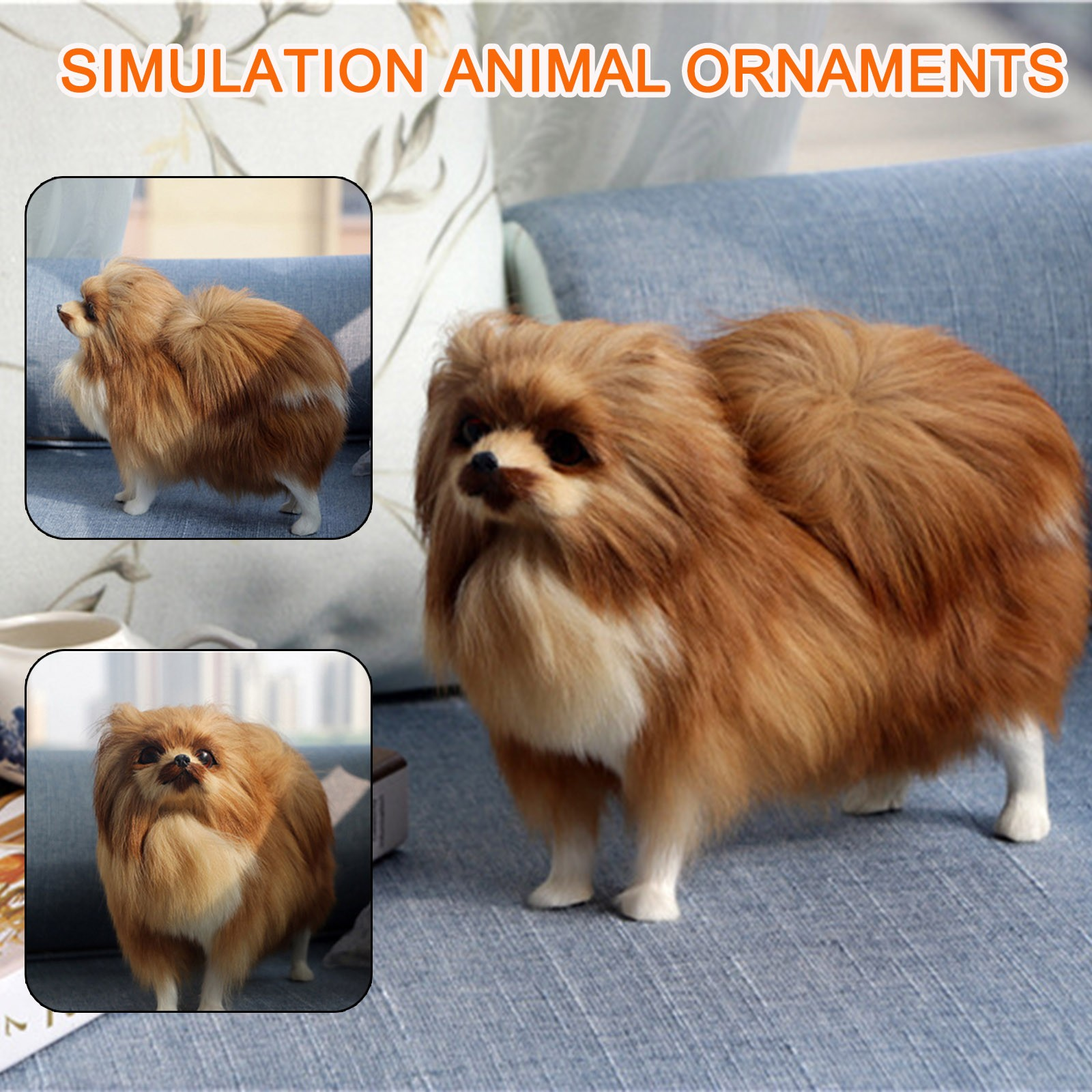 High Quality 3D Realistic Simulation Dog Toy Plush Pomeranian Toy Doll Stuffed Animal Kids Christmas Gift For Kids 22x7x19cm FE