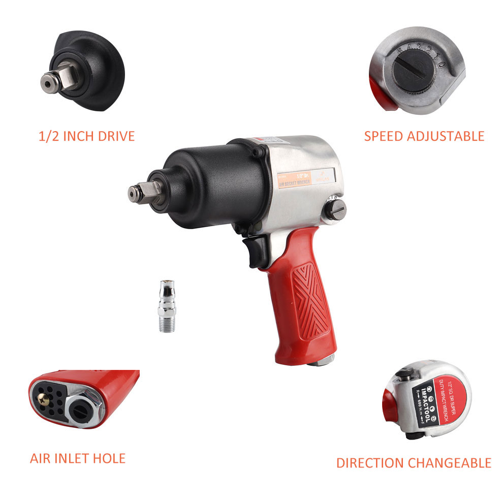 Tools : 1 2 Inch Drive 680N m Pneumatic Impact Wrench High Torque Air Impact Socket Wrench Spanner Air Powered Tools