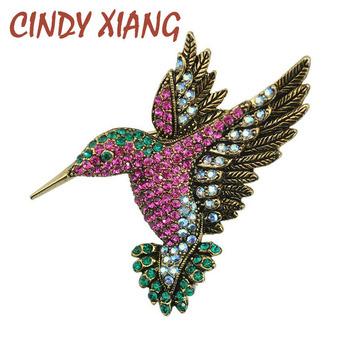 Cindy xiang kolorowe Rhinestone Hummingbird broszka broszki z motywem zwierząt dla kobiet Korea akcesoria mody Factory Direct hurtownia tanie i dobre opinie CN (pochodzenie) Ze stopu cynku BR0306 Moda Kobiety TRENDY