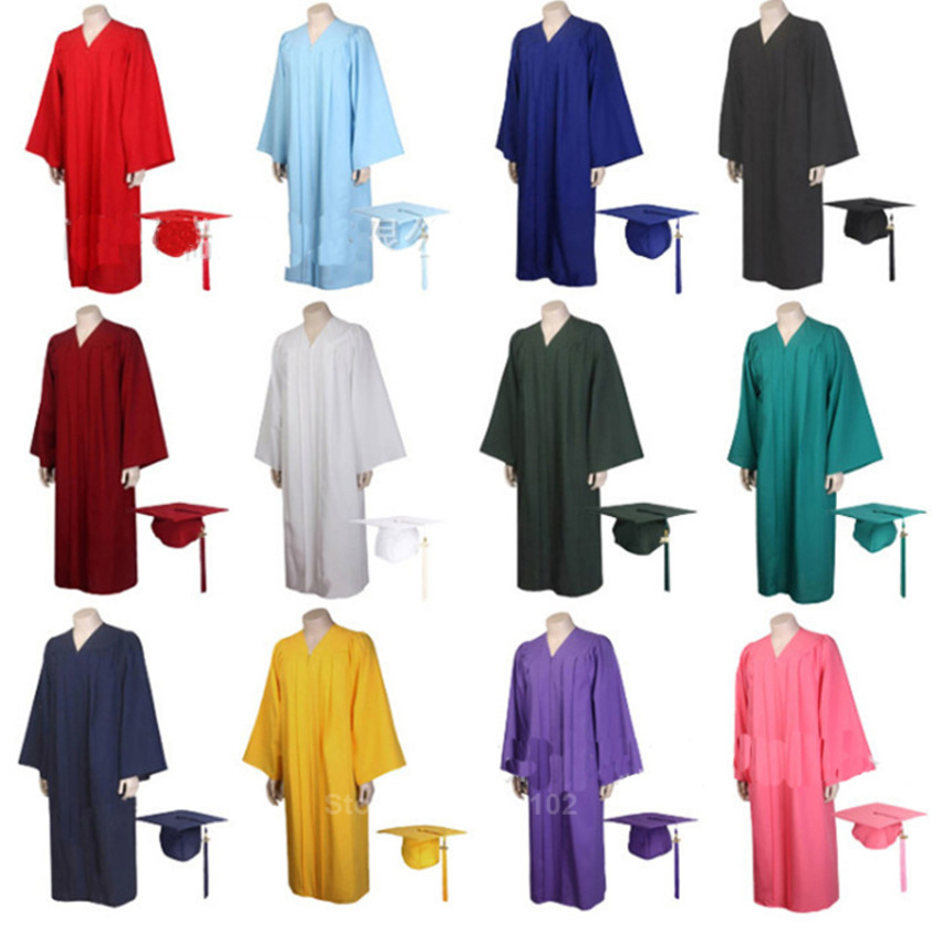 2020 Unisex Adult Graduation Gown Choir Robes Cap Clothing Sets For High School And Bachelor Graduate Collage Student Uniforms