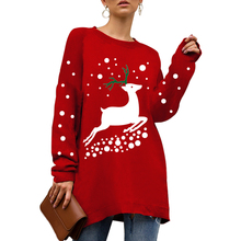 купить 2019 New Christmas Women Sweater Jumper Winter Elk Print Hooded Sweatshirt O-Neck Long Sleeve Bottoming  Turtleneck Pullover дешево