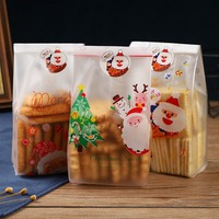 50PCS Cute Transparent Bags Christmas Pattern Bag for Candy Box Biscuit Packaging Gift Xmas Packaging Cookie Sealing Bag 2020