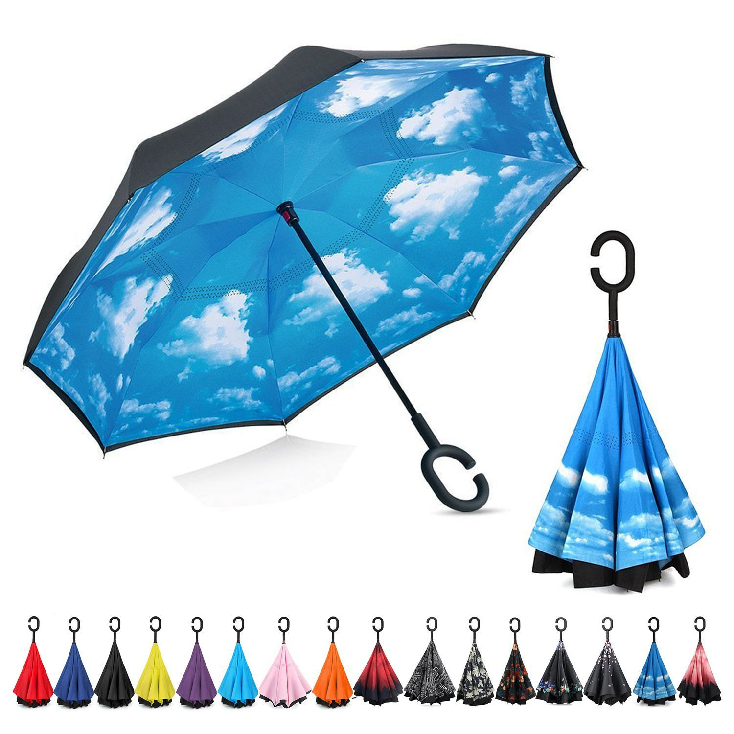 Cartoon Reverse Umbrella Qi Che San Parasol Cartoon C- Shaped Reverse Umbrella Customizable Advertising Umbrella Logo Customizab