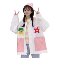 Original Loose Coat Woman Autumn Fresh Color Printing Baseball Outerwear & Coats Harajuku Jackets Streetwear Korea Style Bomber