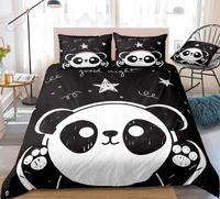 3 Pieces Panda Duvet Cover Set Cartoon Animal Bedding Kids Boys Girls Bed Set White Black Panda Quilt Cover Queen Star Dropship