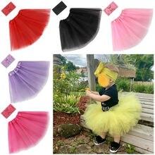 Юбка-пачка для новорожденных девочек и повязка на голову; костюм для фотосессии; комплект из 2 предметов; однотонные кружевные мини-юбки