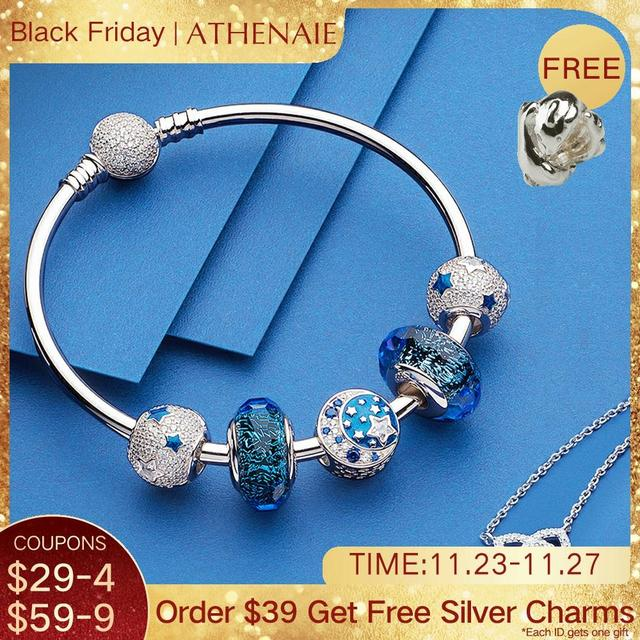 ATHENAIE Authentic 925 Sterling Silver Starry Sky Charms Bracelet Bangles with CZ Charm Beads for Women Christmas Day Gift