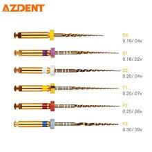 AZDENT Rotary Super Kanal Wurzel Goldene Dateien Dental Labor NITI Endodontie Pro Verjüngt Medizinische Klinik Zahnarzt Motor Verwendung SX-F3 25mm