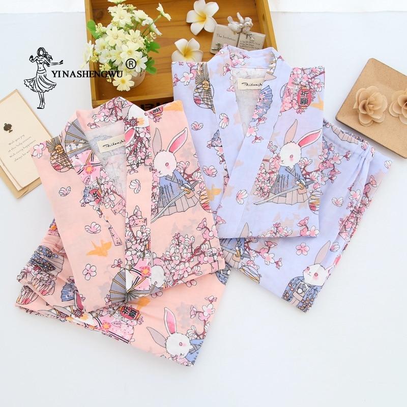 Japanese Kimono Yukata Women Thin Loose Cardigan Pajamas Set Summer Pure Cotton Rabbit And Cherry Blossom Print Home Serve Suit