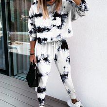Terno de jogging feminino agasalho de duas peças tie-dye impresso lounge wear conjunto de manga longa com capuz e calças de impressão casual sweatsuit