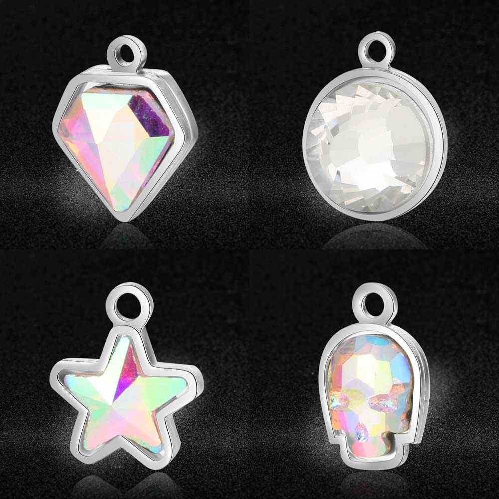 5pcs/lot 100% Stainless Steel Rhinestone Charms Dia-mond Shaped Star Skull Crystal Stone DIY Jewelry Charms Wholesale