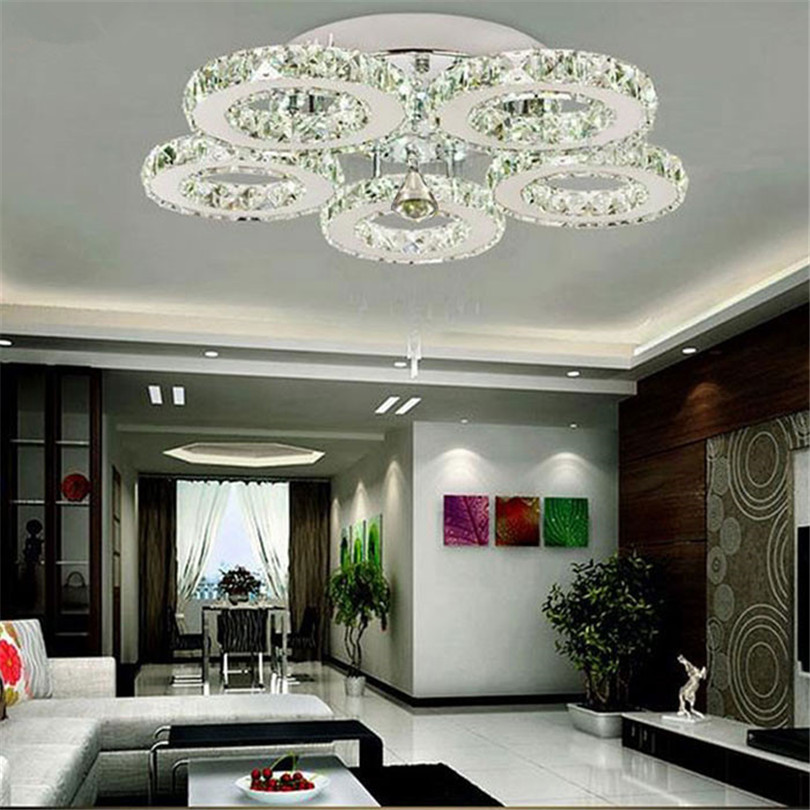 He3cf3f1221004c98a7388b6dc19862e9M Modern Crystal Rings Ceiling Chandelier Lights Silver Crystal Led Plafonnier for Bedroom Kitchen Ceiling Lamp Lustre