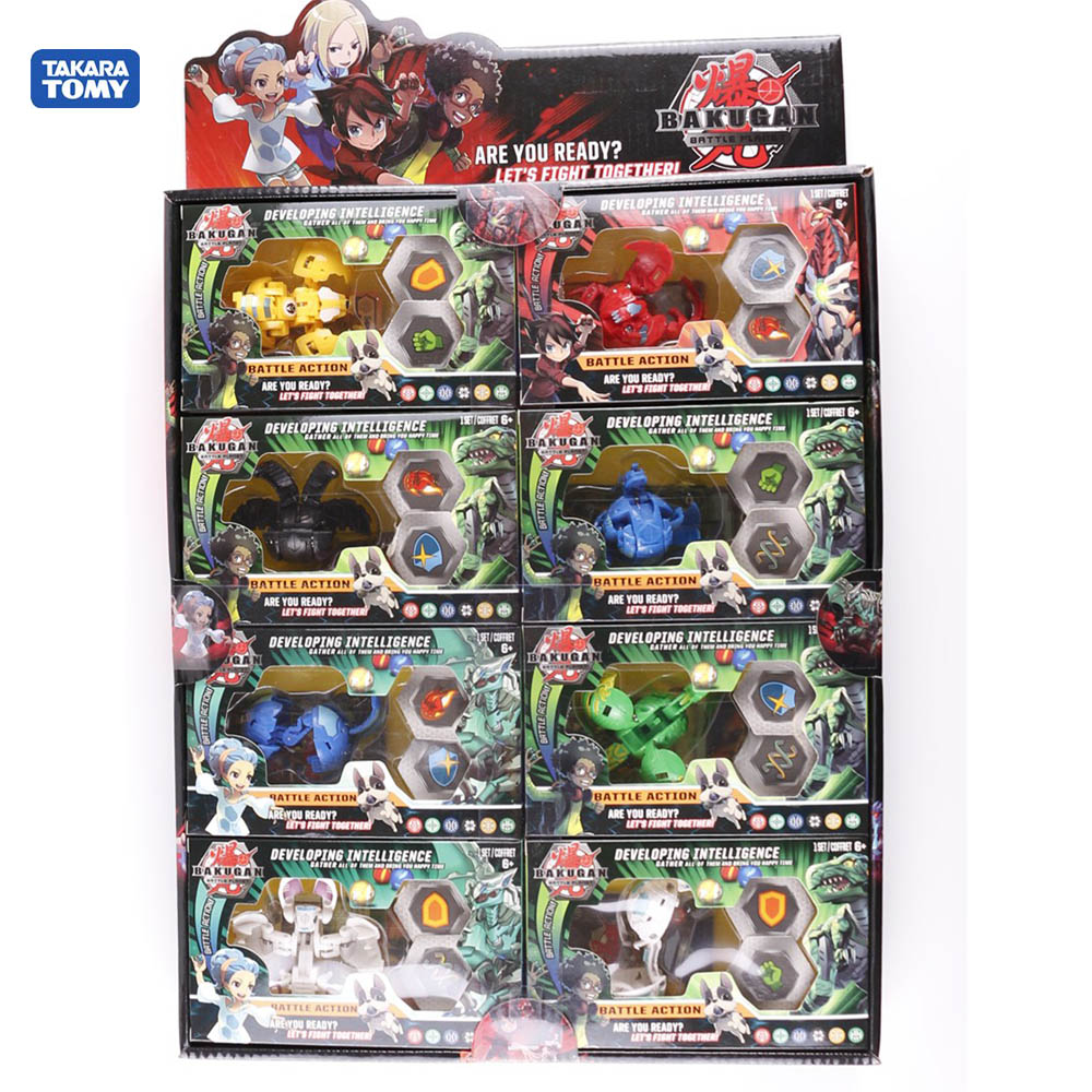 TOMY New  BAKUGAN  Value Set Children's Toy Birthday Gift Model Decoration Cards Total 8 Bakugan 16 Cards And 16 Magnetic Pads