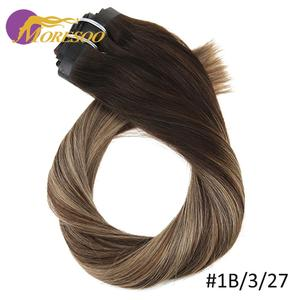 Moresoo бесшовные ПУ Клип ins 16-24 дюйма клип в человеческие волосы для наращивания прямые машины Remy бразильские волосы 7 шт 100 г натуральные волос...