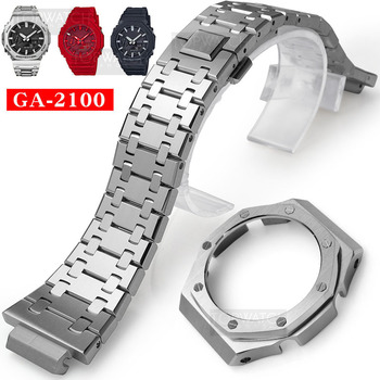 For GA2100 Watch Band Strap Bezel/Case 316L Stainless Steel Metal Belt With Tools Wholesale Watchband GA-2100 GA2110 - discount item  54% OFF Watches Accessories