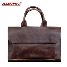 Luxury Brand Briefcase for Men Crazy Horse Leather Laptop Handbag Business Office men's Shoulder bag Leather Messenger Tote Bags crazy horse leather travel bags handbag men s messenger bag dispatch briefcase fit in 17 inches laptop 7083b