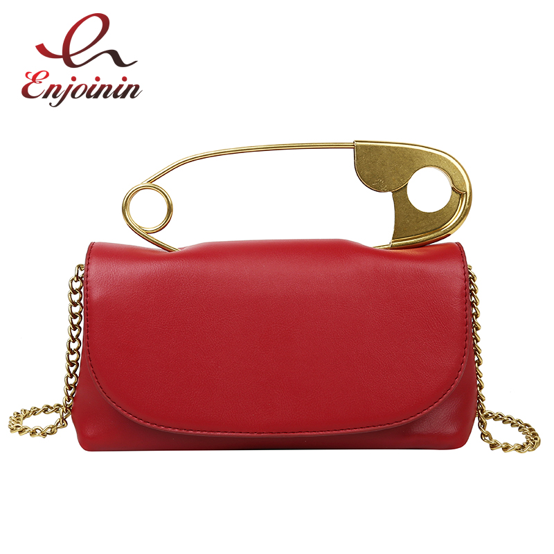Pu Leather Retro Metal Pin Design Trendy Female Purses And Handbags Crossbody Chian Bag Shoulder Bag Ladies Clutch Bag Tote Bag