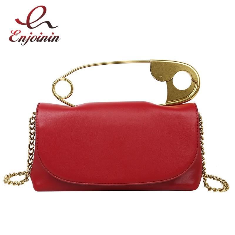 Pu Leather Retro Metal Pin Design Trendy Female Purses And Handbags Crossbody Chian Bag Shoulder Bag Ladies Clutch Bag Tote Bag