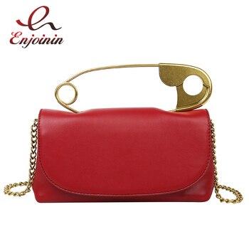 цена на Pu Leather Retro Metal Pin Design Trendy Female Purses and Handbags Crossbody Chian Bag Shoulder Bag Ladies Clutch Bag Tote Bag