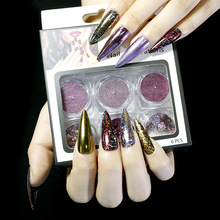 6 Colors / 1 Set of Nail Powder Chameleon Mirror Magic Mirror Powder Glitter Nail Decoration Laser Powder shinning glitter mirror powder tip diy nail art magic glimmer metal silver decoration