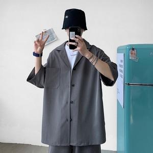 Image 5 - Style coréen hommes ensemble costume veste et Shorts solide mince à manches courtes poche unique genou longueur été surdimensionné vêtements homme