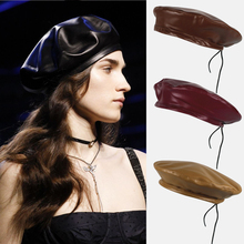 Ins wild PU leather beret female tide autumn and winter retro England pumpkin painter hat bandage