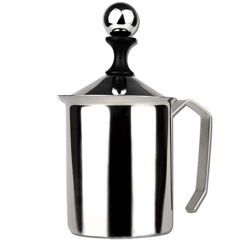 Handleiding Foamer Crème Cappuccino Latte Schuim Pitcher Handvat, Deksel, Double Layer Filter, Rvs, 17 Ounce Capaciteit (500 Ml)