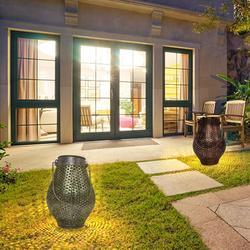 Lampa słoneczna LED bez przewodu zasilającego potrzebna lampa wisząca rzemiosło lampa projektora na trawnik ogrodowy ciepłe białe światło LED Retro kute żelazo