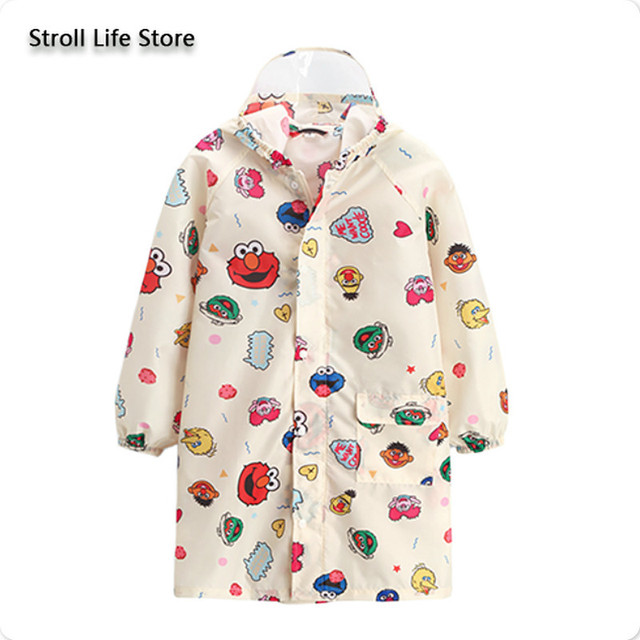Cute Cartoon Raincoat Kids Boys Rain Poncho with Bag Bit Thin Long Rain Poncho Children Blue Jacket Capa De Chuva Gift Rain Gear