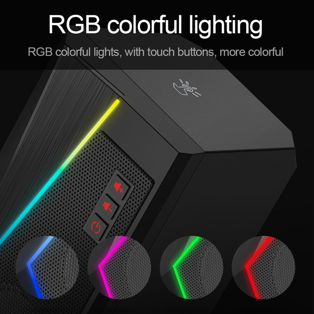 Redragon aux 3.5mm stereo surround music smart RGB speakers sound sound bar for computer 2.0 PC home notebook TV loudspeakers 5