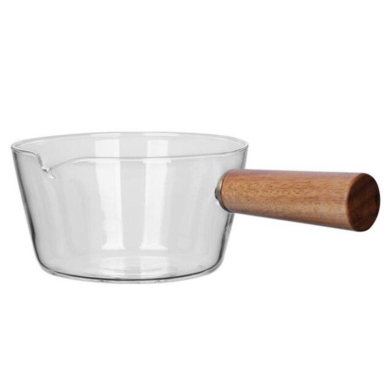 Стеклянный молочный горшок с деревянной ручкой 400 мл, кухонный горшок для салата, лапши, газовая плита, кухонная посуда