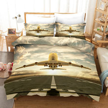 Airplane 3d Bedding Set Duvet Covers Pillowcases Children Room Decor Comforter Bedding Sets Bed Linen 06(China)